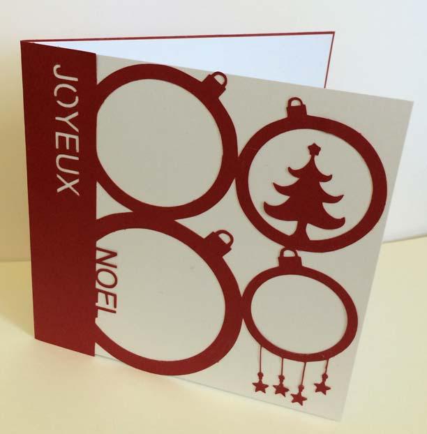 Carte Noël merry christmas card père noël santa claus boules sapin
