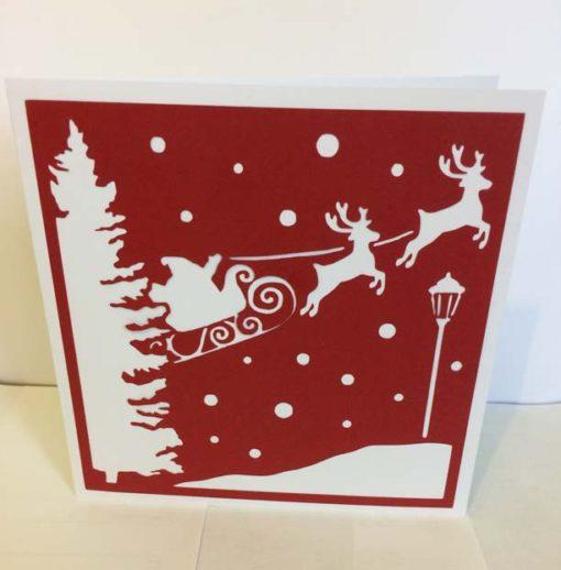 Carte Noël merry christmas card père noël santa claus traineau