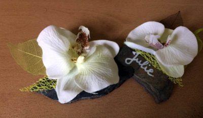 Marque place / Rond de serviette – Ardoise et orchidée