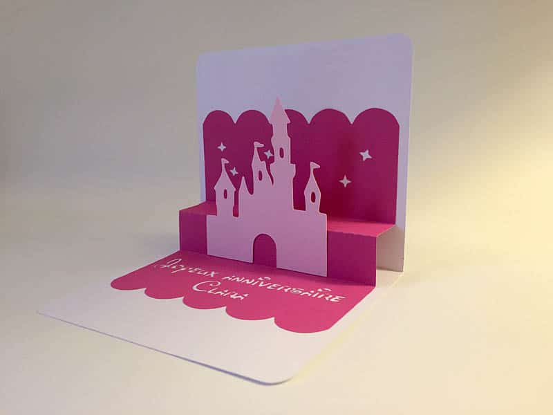 carte pop-up popup silhouette caméo portrait curio studio chateau princesse disney reine des neiges anna elsa