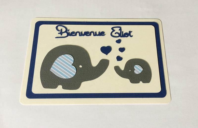 carte naissance éléphant éléphanteau coeurs naissance garçon silhouette caméo portrait studio découpes sst