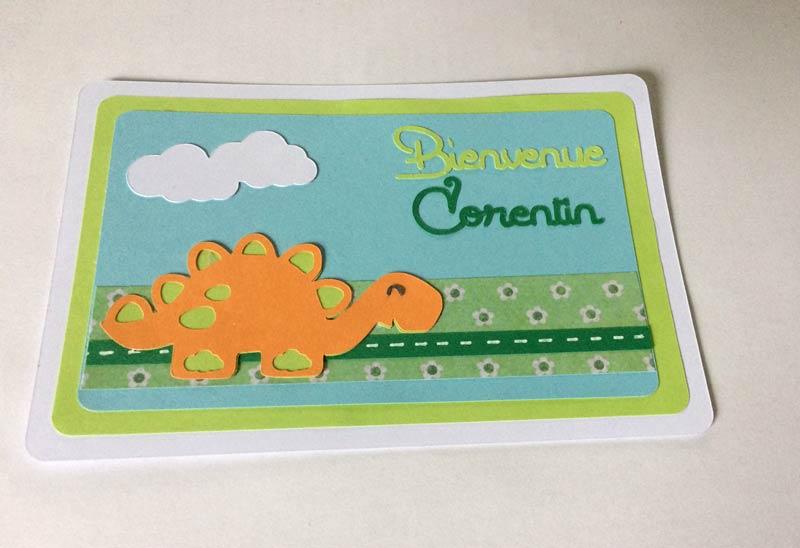 carte naissance dinosaure corentin silhouette caméo portrait studio sst découpe scrapbooking