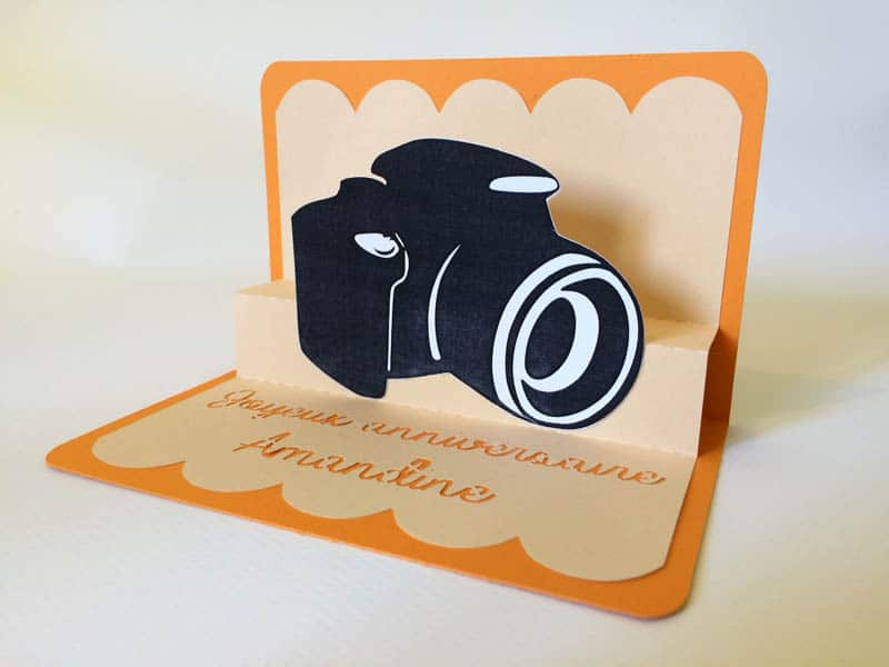 carte pop-up appareil photo camera popup card silhouette caméo portrait curio studio designer