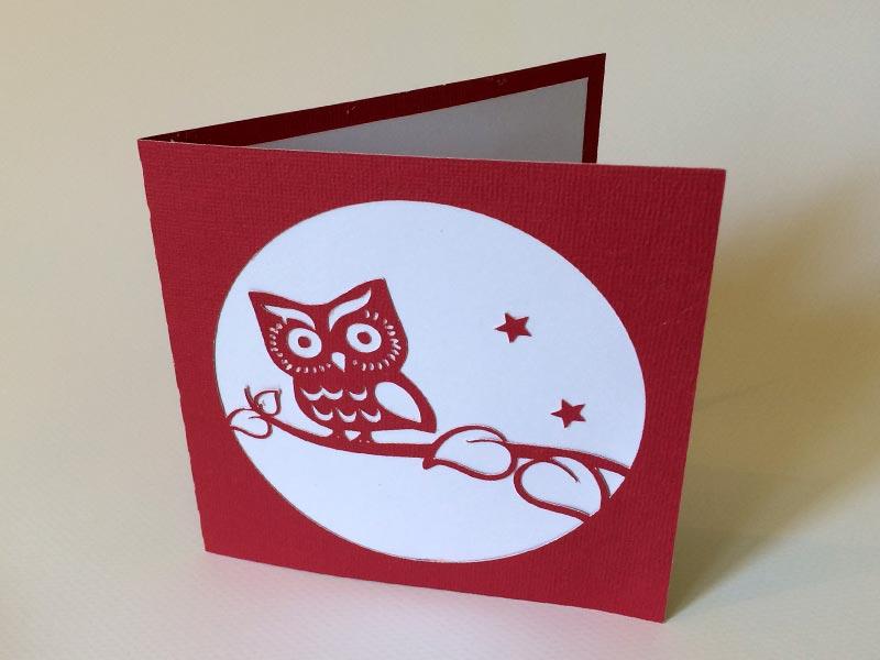 carte fête des mères chouette hibou silhouette caméo portrait curio studio owl card