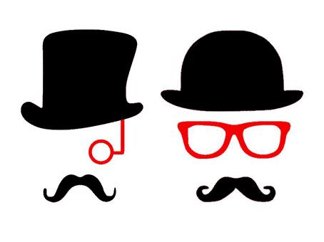déguisement homme chapeu melon binocle lorgnon motifs gratuits fichiers silhouette studio caméo portrait svg sst