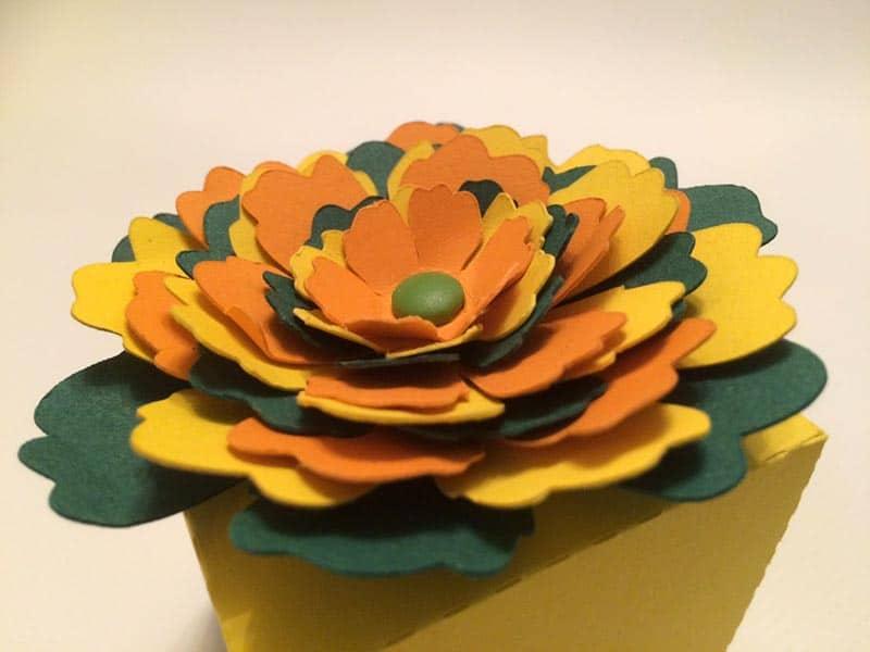 3d flower paper tea box fleur 3d relief papier boite thé