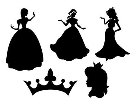 princesse vectorielles vectorisée vecteur vector file princess vectoriel sst svg studio3 silhouette portrait caméo png