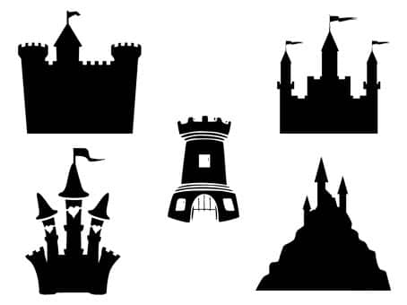 château princesse fort tour svg studio png eps dxf clipart silhouette cutting file castle free