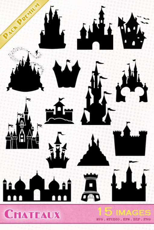 château princesse disney mickey fort tour svg studio png eps dxf clipart silhouette cutting file castle