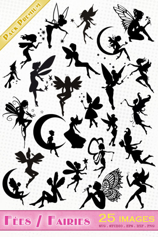 fées svg studio png eps dxf clipart silhouette cutting file fairy fairies disney