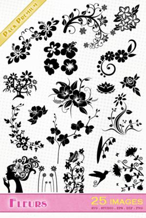 Fleurs – 25 images svg/studio/png/dxf/eps