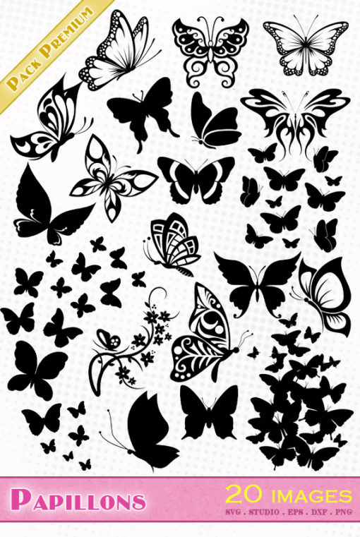papillon svg studio png eps dxf clipart silhouette cutting file butterflies butterfly