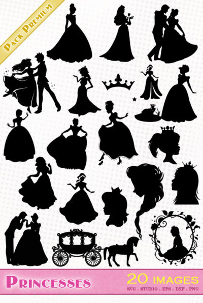 princesse svg studio png eps dxf clipart silhouette cutting file princess Cendrillon Cinderella reine des neiges frozen