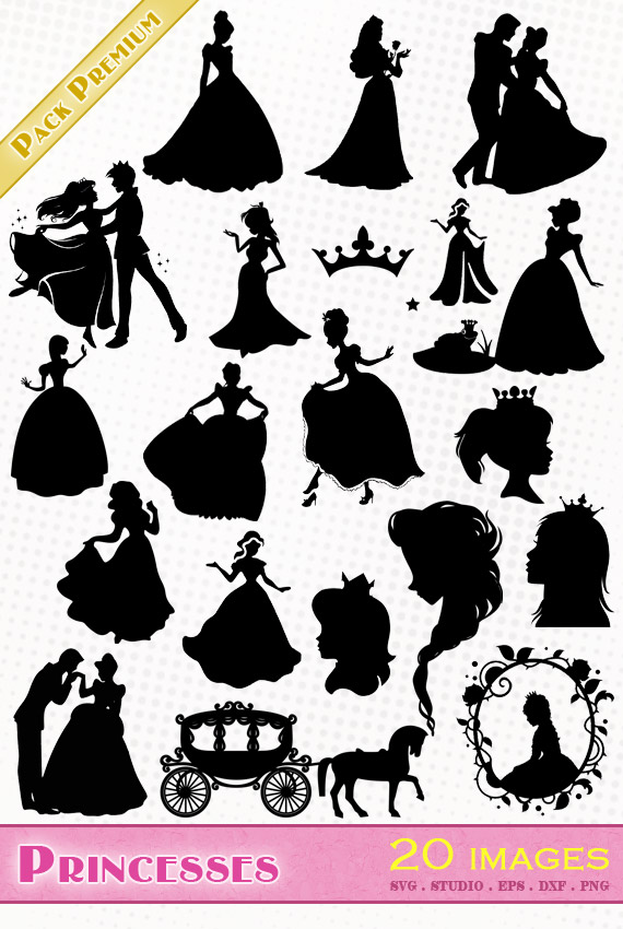 Princesses – 20 images svg/studio/png/dxf/eps