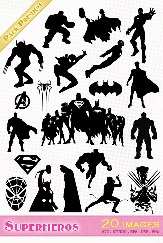 marvel avengers superheros superheroes svg studio png eps dxf clipart silhouette cutting file hulk thor captain america batman superman hawkeye spiderman ironman