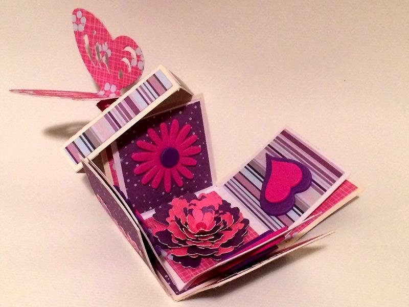 boite explosion box scrapbooking papier diy silhouette portrait cameo butterfly