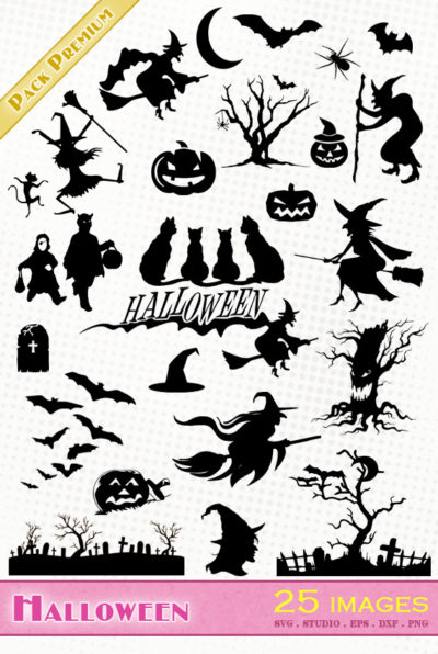halloween sorcière chapeau chat noir citrouille chauve souris svg studio png eps dxf clipart silhouette cutting file witches pumpkin