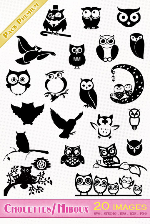 hibou chouette svg studio png eps dxf clipart silhouette cutting file owl