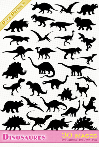 dinosaures dinosaurier dinosaurs Tyrannosaure Brachiosaure Brontosaure Triceratops Ptérodactyle Vélociraptor t-rex svg studio png eps dxf clipart silhouette cutting file