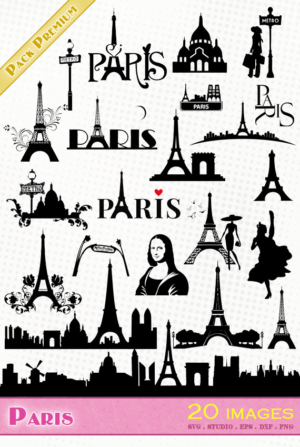 Paris/Tour Eiffel – 20 images svg/studio/png/dxf/eps