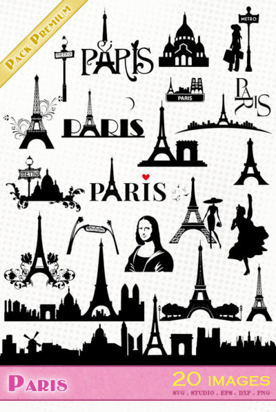 paris tour eiffel joconde moulin rouge cabaret svg studio png eps dxf clipart silhouette cutting file tower eiffelturm