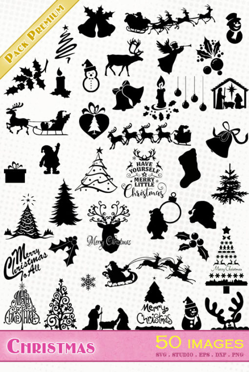 merry christmas silhouette file vector svg eps dxf cameo portrait cricut scanncut