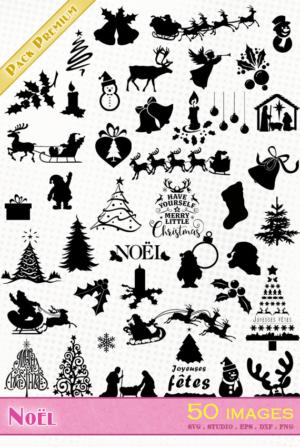 Noël – 50 images svg/studio/png/dxf/eps