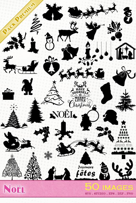 noël christmas navidad svg eps dxf png silhouette studio cameo portrait cricut santa claus nativity sapin décoration houx
