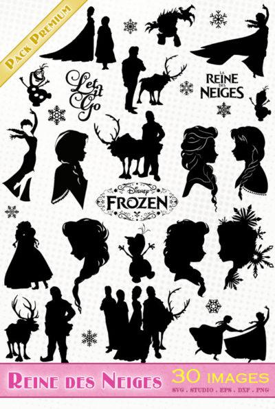 reine des neiges frozen Die Eiskönigin svg studio png eps dxf clipart silhouette cutting file elsa anna olaf sven disney