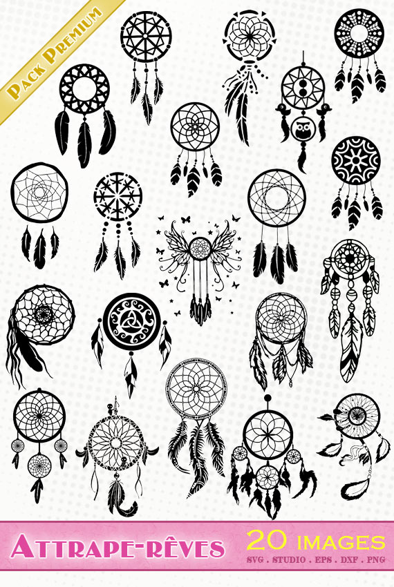 Attrape-rêves / Dreamcatchers – 20 images svg/studio/png/dxf/eps
