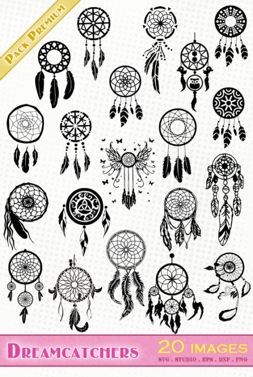 dreamcatcher dream catcher svg silhouette studio cameo portrait dxf eps cricut scanncut
