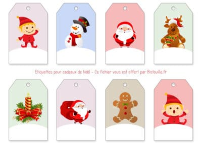 Étiquettes à imprimer pour cadeaux de Noël