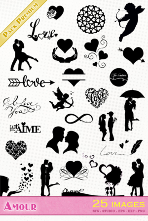 Amour – 25 images svg/studio/png/dxf/eps
