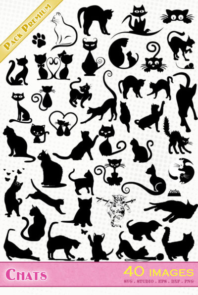 chat chats chaton svg eps dxf png silhouette studio cameo cats cutting file cricut scanncut