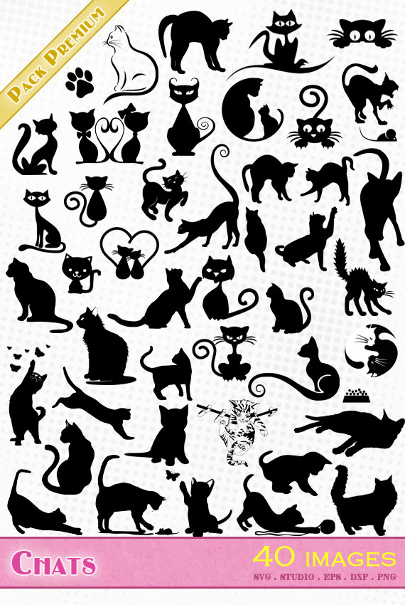 Chats – 40 images svg/studio/png/dxf/eps
