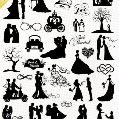 Pack Premium -  30 images de mariage - Fichiers aux formats SILHOUETTE STUDIO, SVG, EPS, DXF et PNG