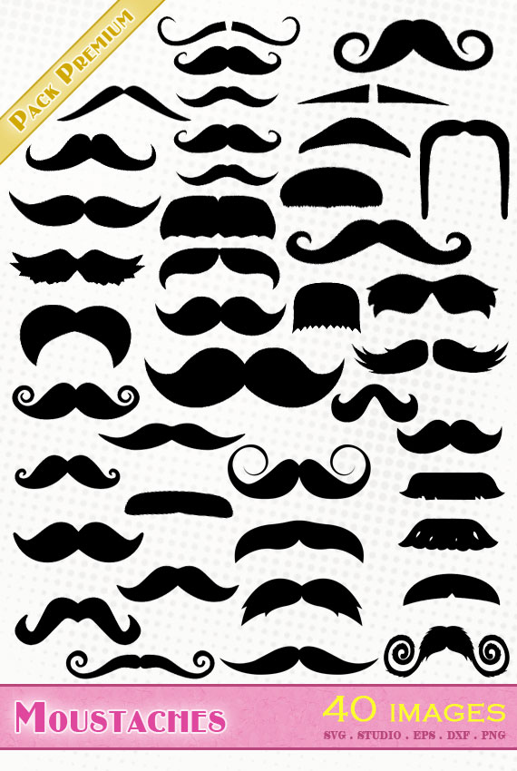 moustache moustaches svg eps dxf png silhouette studio cameo mustache cutting file cricut scanncut
