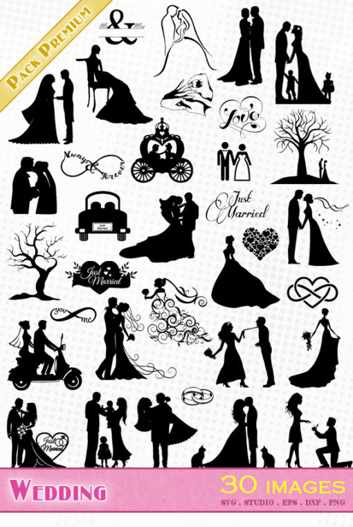 wedding love svg silhouette dxf eps cameo portrait cricut scanncut vector file matrimonio Ehe just married
