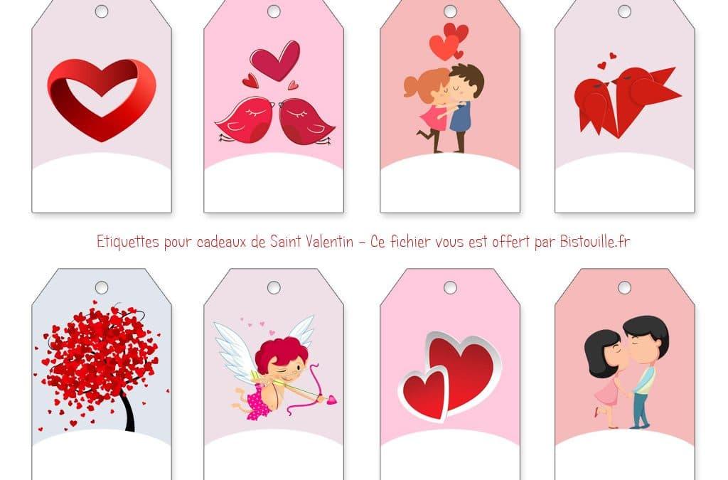 Étiquettes à imprimer pour cadeaux de Saint Valentin/Anniversaire de mariage ou de rencontre