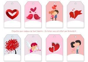 étiquette à imprimer saint valentin st valentine's day gift tags to print