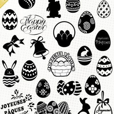 pâques easter oeuf egg cloche lapin joyeuses fêtes silhouette studio cameo portrait clipart cricut scanncut scancut