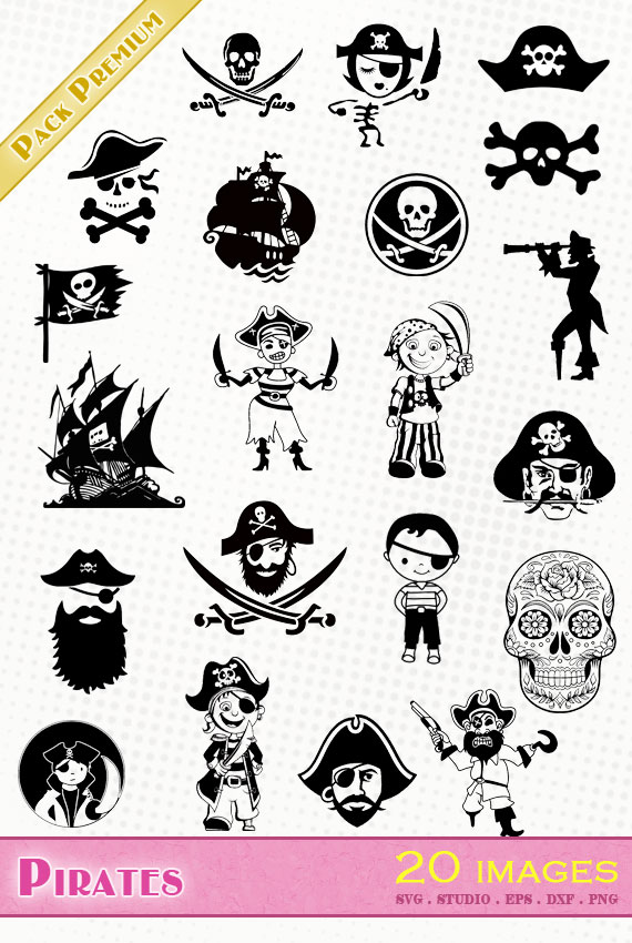 Pirates – 20 images svg/studio/png/dxf/eps