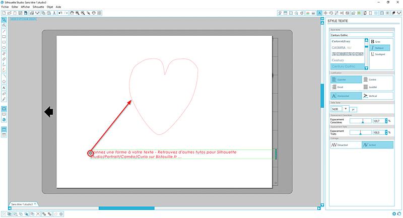 tuto silhouette studio cameo portrait curio écrire texte forme coeur tutoriel tutorial write text heart