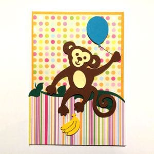 carte anniversaire singe accrobranche birthday card monkey banana banane
