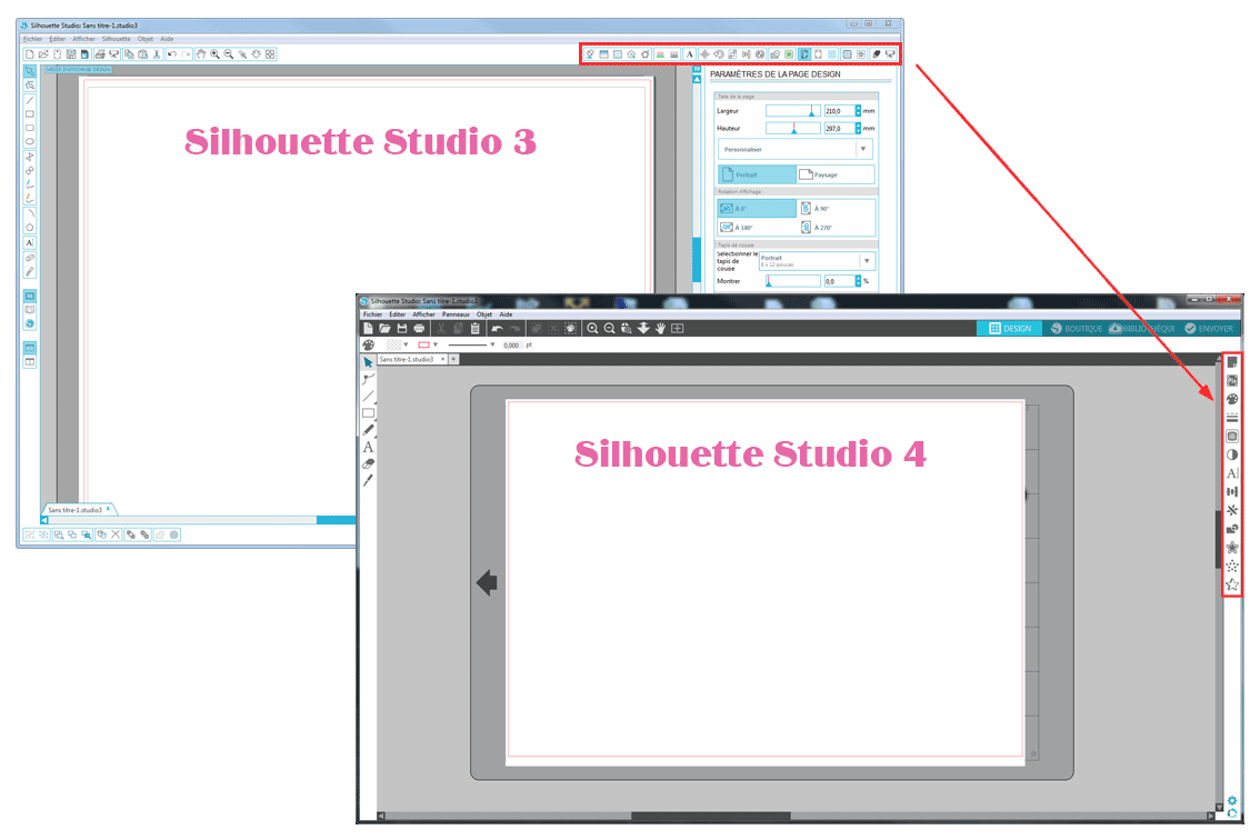 nouveautés silhouette studio 4 barre d'outils