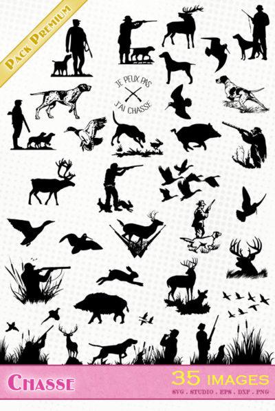 chasse hunting bécasse chasseur lièvre chien sanglier silhouette svg eps dxf studio cameo portrait cricut scanncut vector file cutting