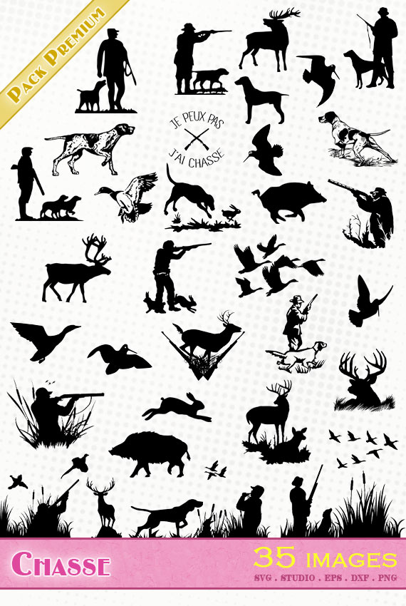Chasse – 35 images svg/studio/png/dxf/eps