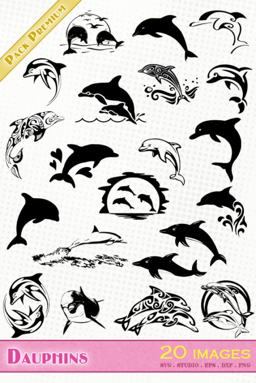 dauphin dolphin delphin delfin delfino silhouette svg eps dxf studio cameo portrait cricut scanncut vector file die cutting