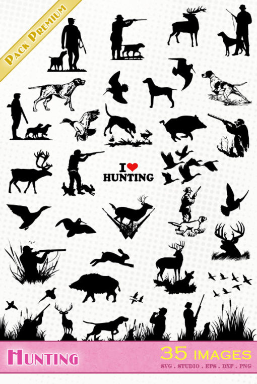 hunting hunter hunt svg silhouette dxf eps portrait cameo studio cricut scanncut Jagd caza duck rabbit woodcock hare wild boar deer