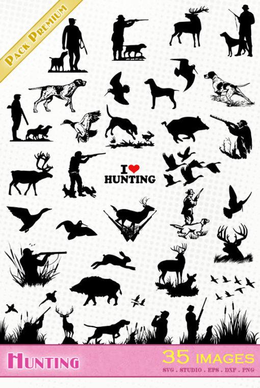 hunting hunter hunt svg silhouette dxf eps portrait cameo studio cricut scanncut Jagd caza duck rabbit woodcock hare wild boar deer